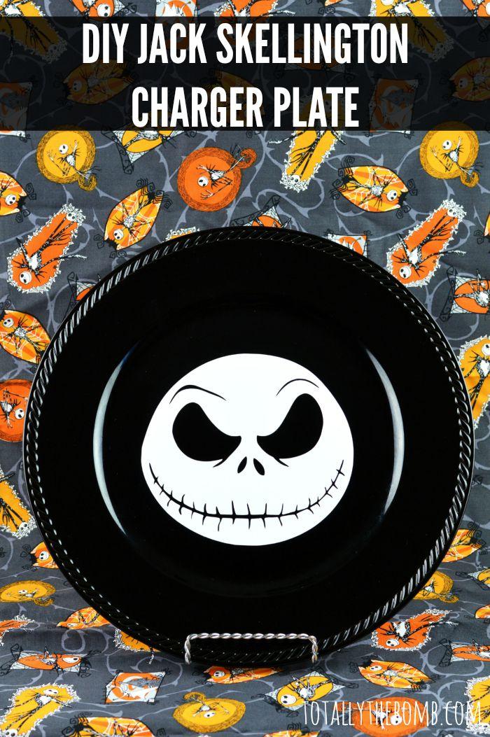 DIY Jack Skellington Charger Plate - Nightmare Before Christmas - Halloween Craft | BecauseImCheap.com
