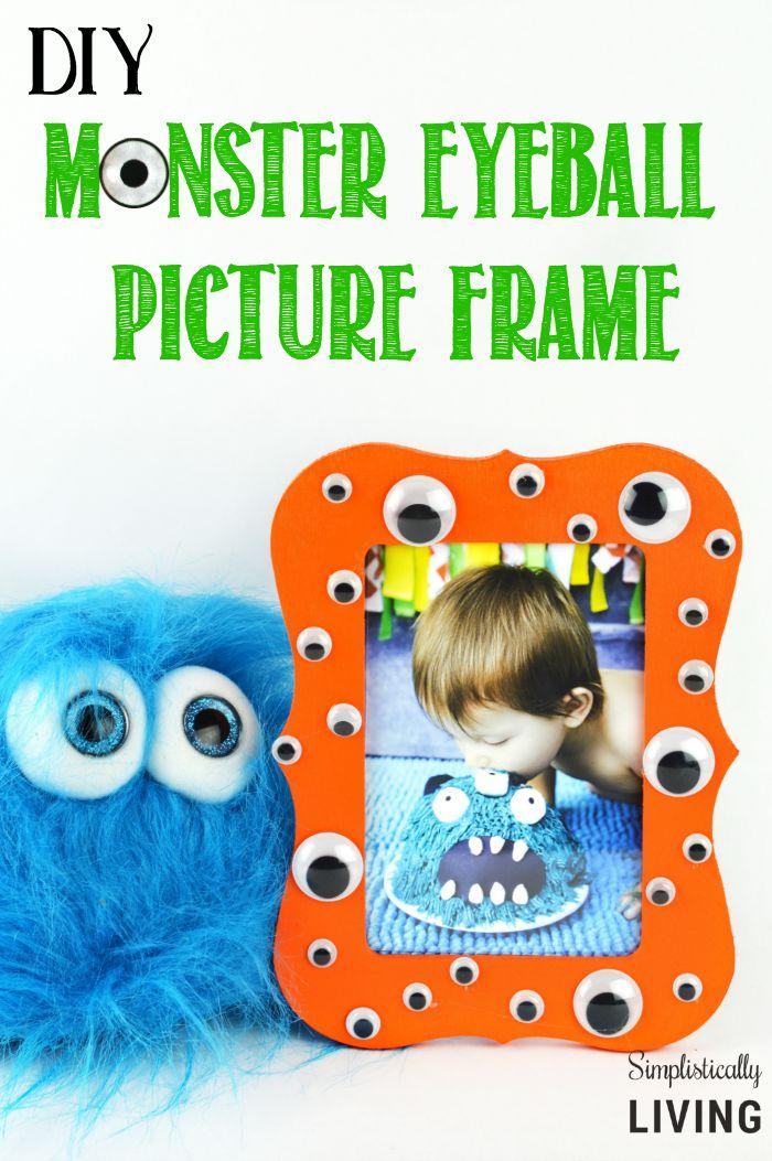 DIY Halloween Craft Monster Eye Ball Picture Frame | BecauseImCheap.com